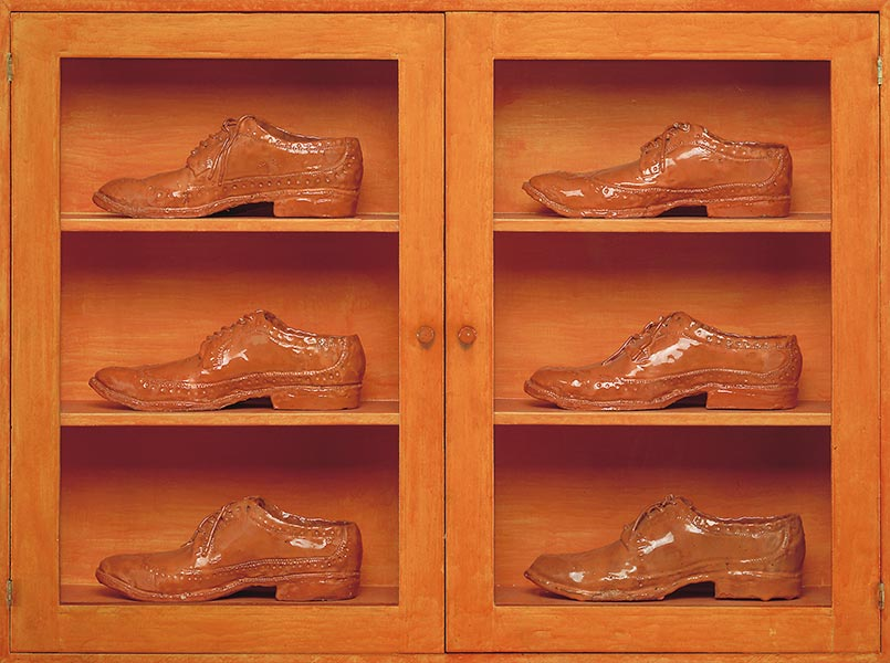 Single Right Men's Shoes: Bootcase with 6 Orange Brogues, 1973